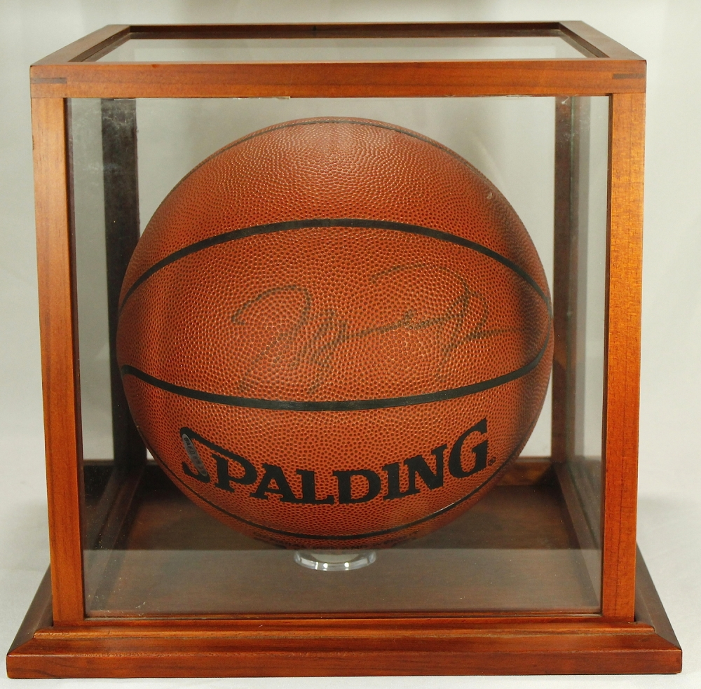 michael jordan signed spalding basketball with high quality display case uda - Basketball Display Case