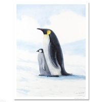 """Wyland Signed """"Antarctic Penguins"""" Limited Edition 21x28 Giclee on Canvas #/750"""
