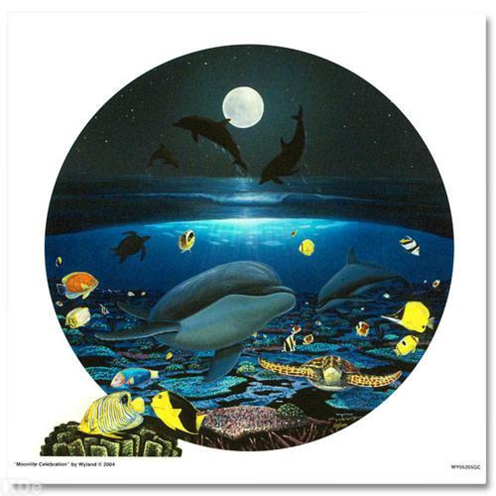 """Wyland Signed """"Moonlight Celebration"""" 20x20 Limited Edition Giclee on Canvas at PristineAuction.com"""