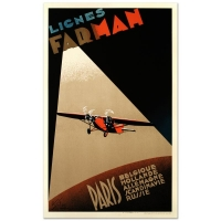 """""""Farman Airlines"""" Hand Pulled 24x39 Lithograph by the RE Society at PristineAuction.com"""