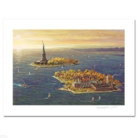 """Alexander Chen Signed """"Ellis Island - Fall"""" Limited Edition 14x10 Mixed Media"""