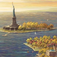 """Alexander Chen Signed """"Ellis Island - Fall"""" Limited Edition 14x10 Mixed Media at PristineAuction.com"""