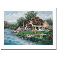 "Earlene Moses Signed ""English Farmhouse"" Limited Edition 39x29 Serigraph at PristineAuction.com"