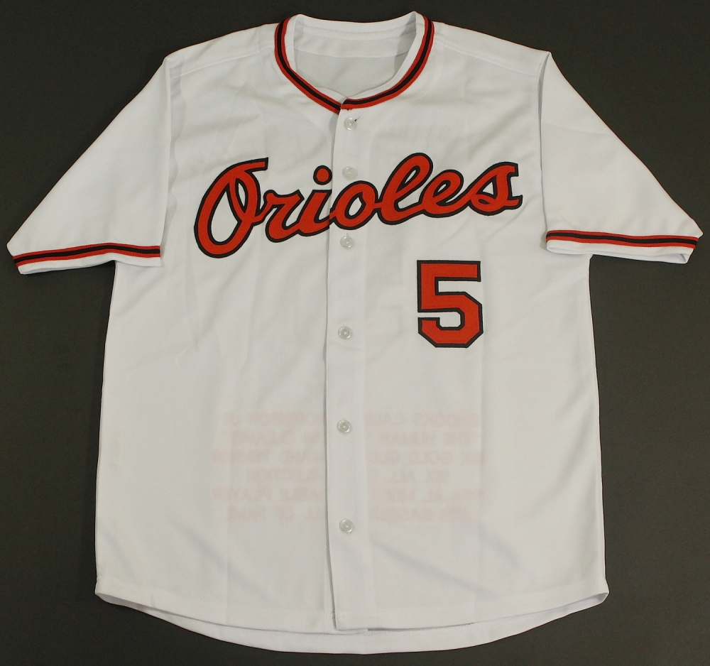 787667619 Brooks Robinson Signed Orioles Stat Jersey Inscribed