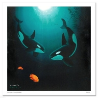 """Wyland Signed """"In the Company of Orcas"""" Limited Edition 30x30 Giclee on Canvas at PristineAuction.com"""