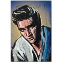 "David Garibaldi Signed ""Elvis Presley (Blue Suede)"" LE12x18 Giclee on Canvas"