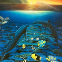 """Wyland Signed """"Kiss for the Sea"""" Limited Edition 30x40 Giclee on Canvas at PristineAuction.com"""