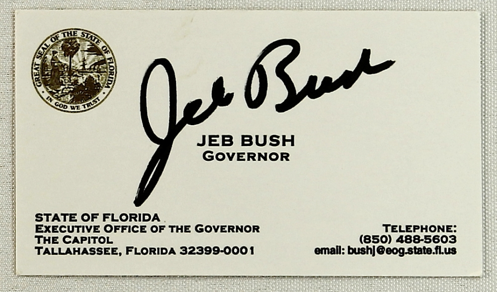 Online sports memorabilia auction pristine auction jeb bush signed business card pa loa at pristineauction colourmoves