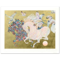 """Guillaume Azoulay Signed """"Le Vol Des Grues"""" LE 37x29 Serigraph with Hand Laid Gold Leaf"""