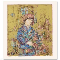 "Edna Hibel Signed ""Umbria's Garden"" Limited Edition 15x20 Serigraph at PristineAuction.com"