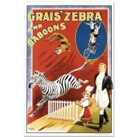 """""""Grais Zebra and Baboons"""" Hand Pulled 20x30 Lithograph by the RE Society at PristineAuction.com"""