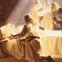 """Greg Hildebrandt Signed The Brothers Hildebrandt """"The Healing Of Eowyn"""" Limited Edition 28x21 Giclee on Canvas at PristineAuction.com"""