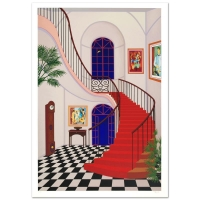 """Fanch Ledan Signed """"Interior with Red Staircase"""" Limited Edition 25x36 Serigraph"""
