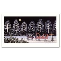 "Jane Wooster Scott Signed ""Trail Creek Sleigh Ride"" Limited Edition 10x17 Lithograph"