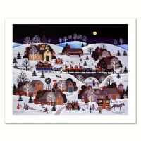 "Jane Wooster Scott Signed ""Jingle Bells and Carolers"" Limited Edition 17x14 Lithograph at PristineAuction.com"