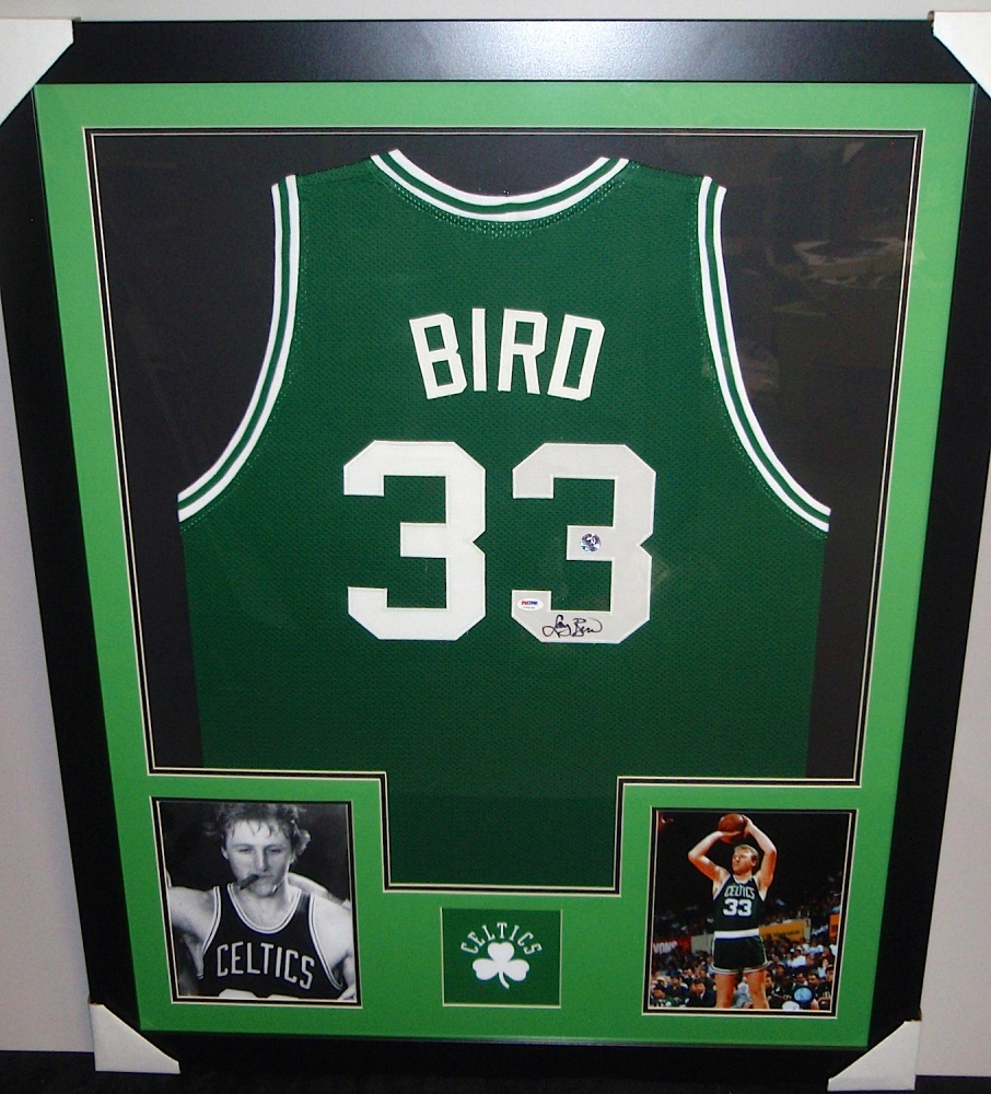 14e4e109133 Larry Bird Signed Celtics 35x43 Custom Framed Jersey (PSA COA   Larry Bird)  at