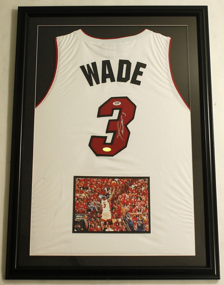 Elegant Dwyane Wade Signed Heat 25x35 Custom Framed Jersey Display (PSA COA U0026 Wade  Hologram)