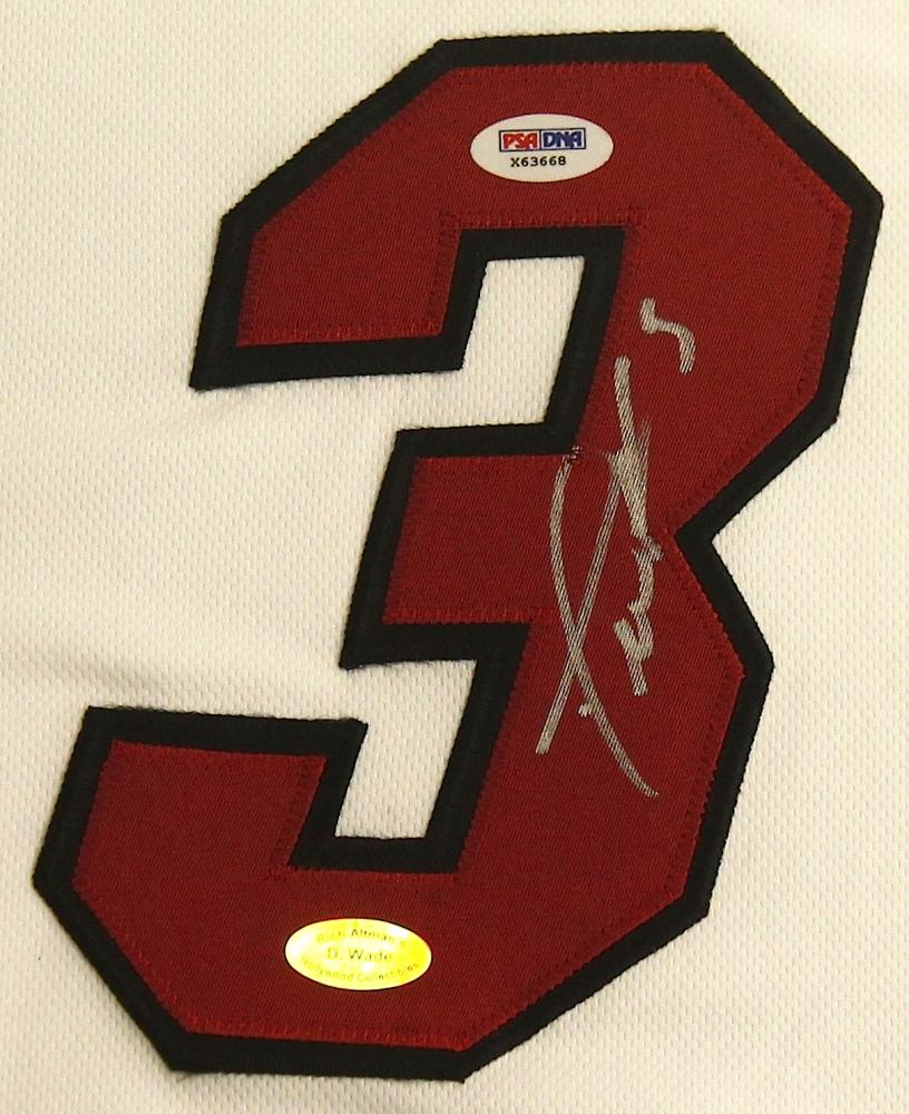 Dwyane Wade Signed Heat 25x35 Custom Framed Jersey Display (PSA COA U0026 Wade  Hologram)