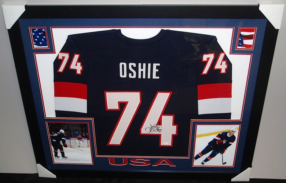 a6c60788ab8 TJ Oshie Signed Team USA 35x43 Custom Framed Jersey (JSA COA) at  PristineAuction.