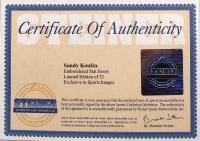 "Sandy Koufax Signed Dodgers 40"" x 42"" Custom Framed Stat Jersey (Steiner COA) at PristineAuction.com"