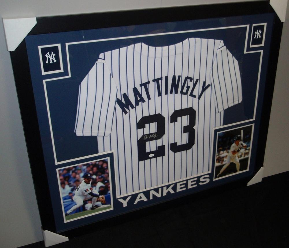 Don Mattingly Signed Yankees 35x43 Custom Framed Jersey