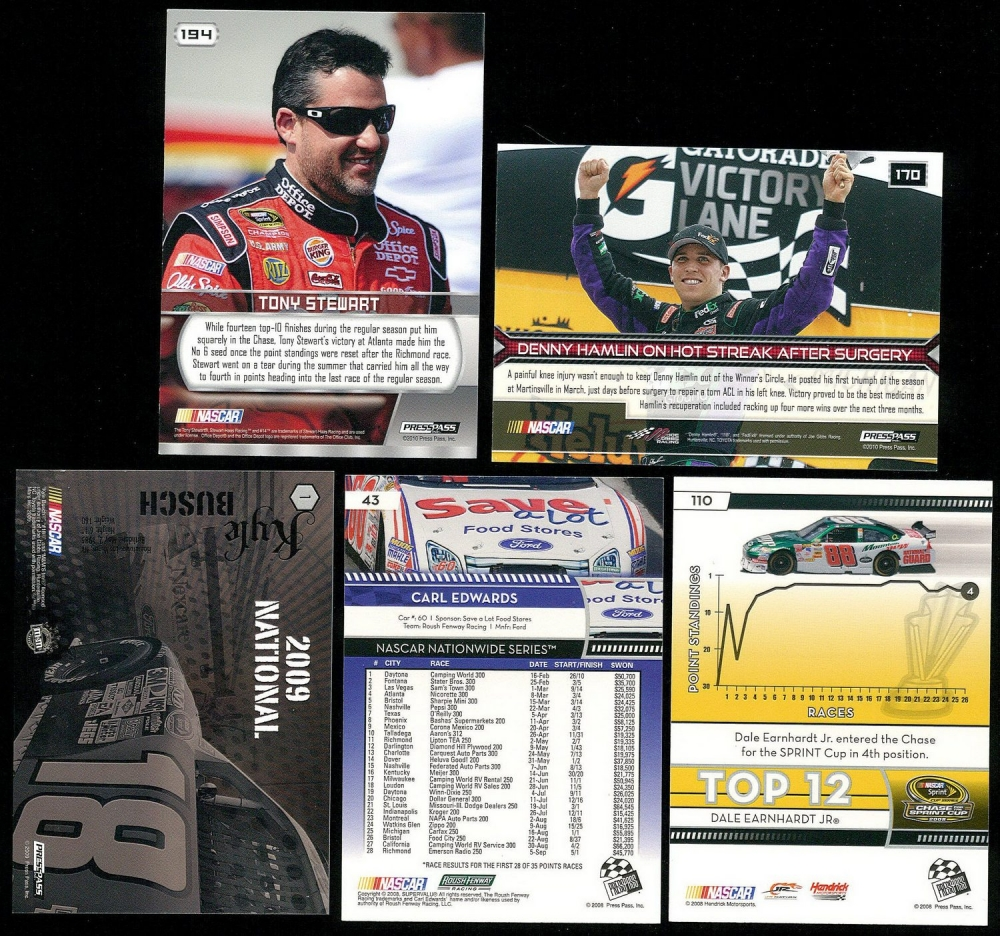 Lot Of (5) Signed NASCAR Trading Cards With Dale Earnhardt