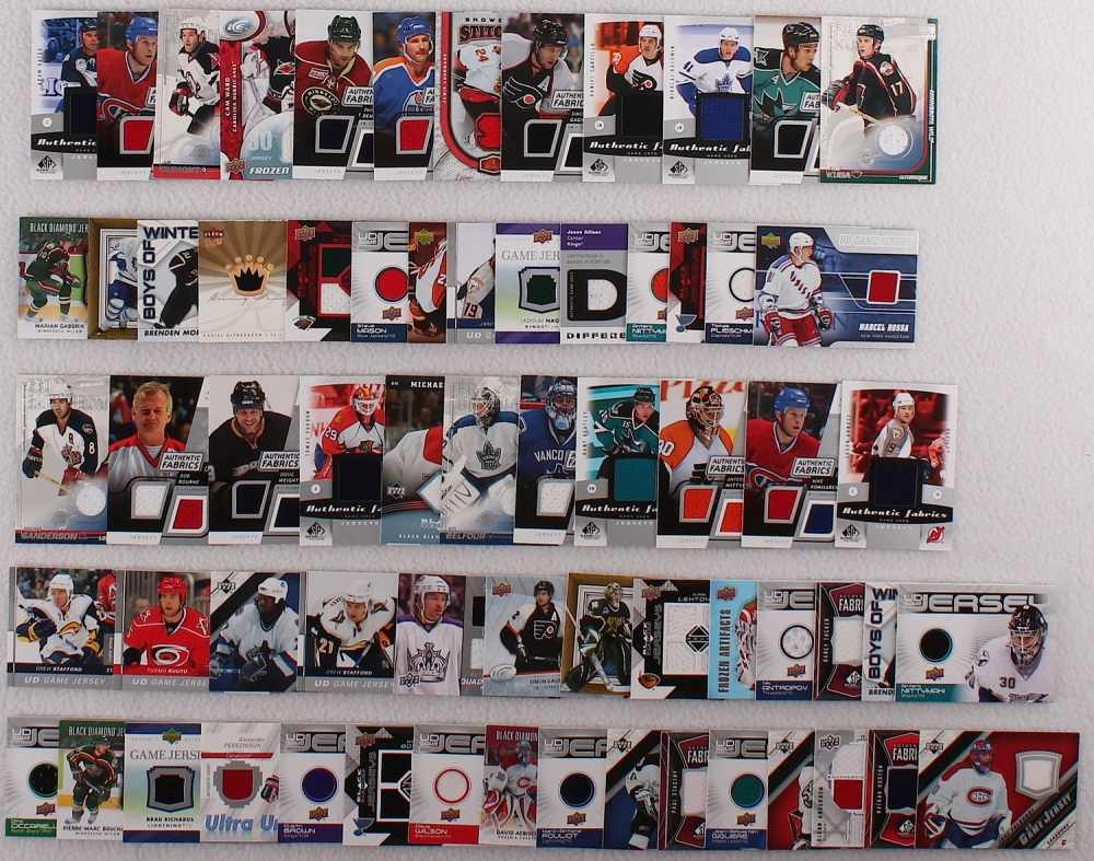 online sports memorabilia auction pristine auction lot of 60 game used relic hockey insert cards drew stafford