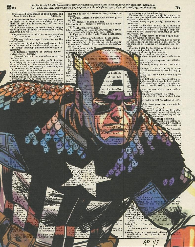 Captain America Marvel Avengers Original Antique Dictionary Page Art Print Artist Proof