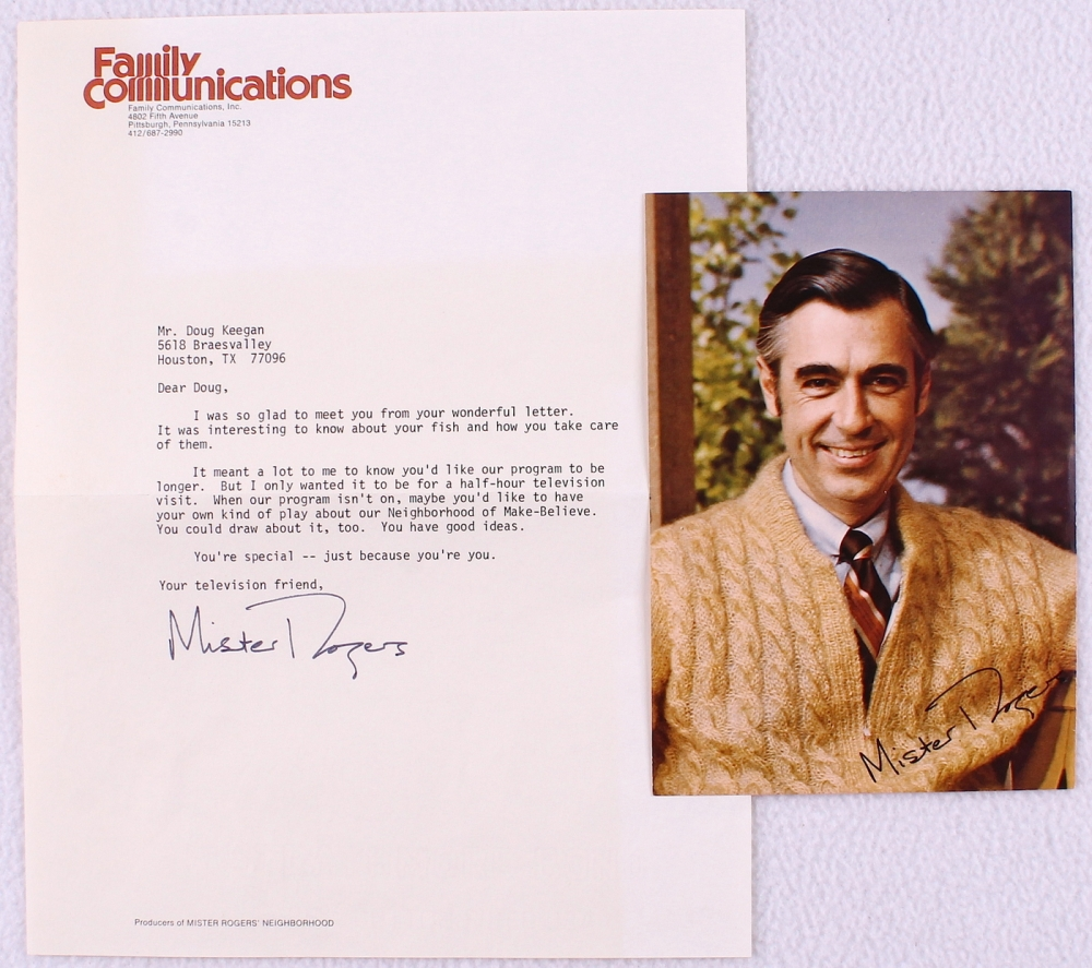 Fred Rogers Signed Mister Rogers Neighborhood 8x11 Typed Letter Jsa Aloa Pristine Auction