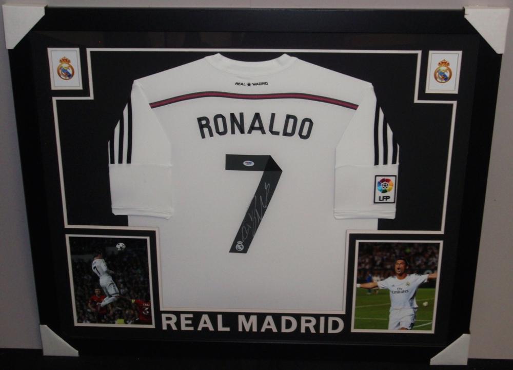 9f04352926c Cristiano Ronaldo Signed Real Madrid 35x43 Custom Framed Jersey (PSA COA)  at PristineAuction.