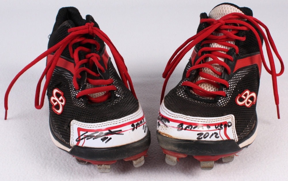 bd5277a7f Carlos Santana Signed Game-Used Boombah H2R Cleats Inscribed