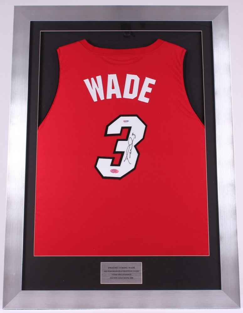 63e95b836e1 ... store dwyane wade signed heat 26x36 custom framed jersey display psa coa  at pristineauction. ad3ba