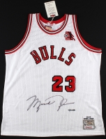 Michael Jordan Signed LE Authentic Mitchell & Ness 1984-85 Bulls Rookie Jersey with ROY Patch #70/123 (UDA COA) at PristineAuction.com