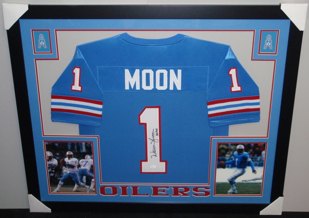 ... Warren Moon Signed Oilers 35x43 Custom Framed Jersey Inscribed ... ca4598bd2