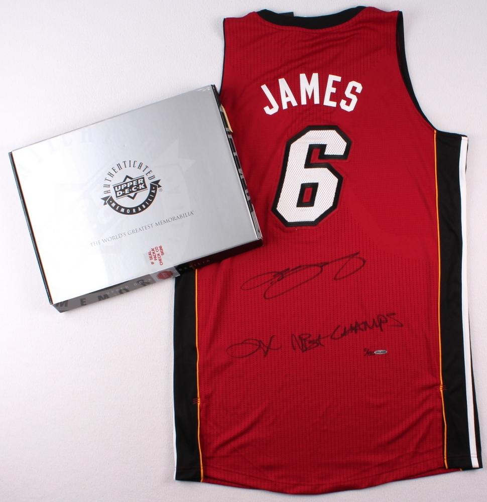 236542cbc96d LeBron James Signed Miami Heat Authentic Adidas Alternate Jersey Inscribed