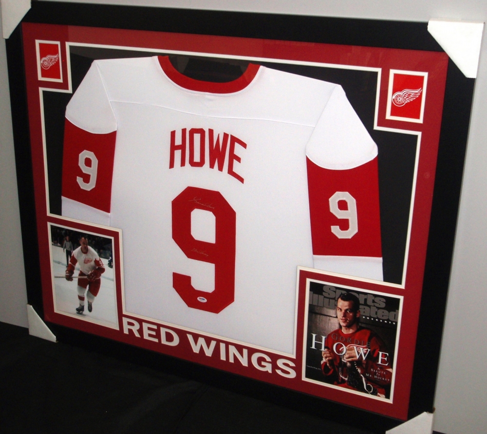 5f929f2ad Gordie Howe Signed Red Wings 35x43 Custom Framed Career Highlight Stat Jersey  Inscribed