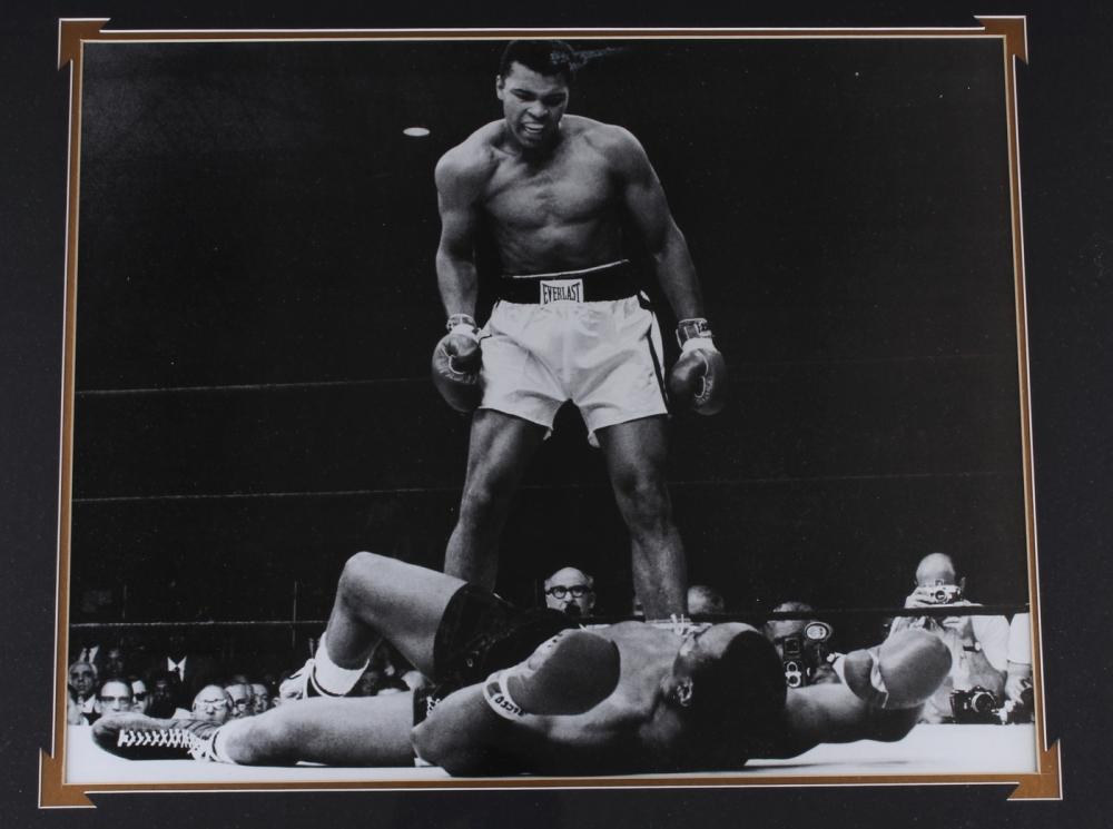 muhammad ali signed 35x43 custom framed boxing shorts display psa loa at pristineauction - Muhammad Ali Framed Pictures