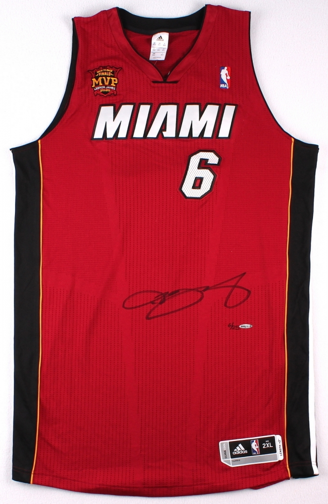 34b64333845 ... LeBron James Signed LE Miami Heat Authentic Adidas Alternate Jersey  with Back to Back Finals MVP ...