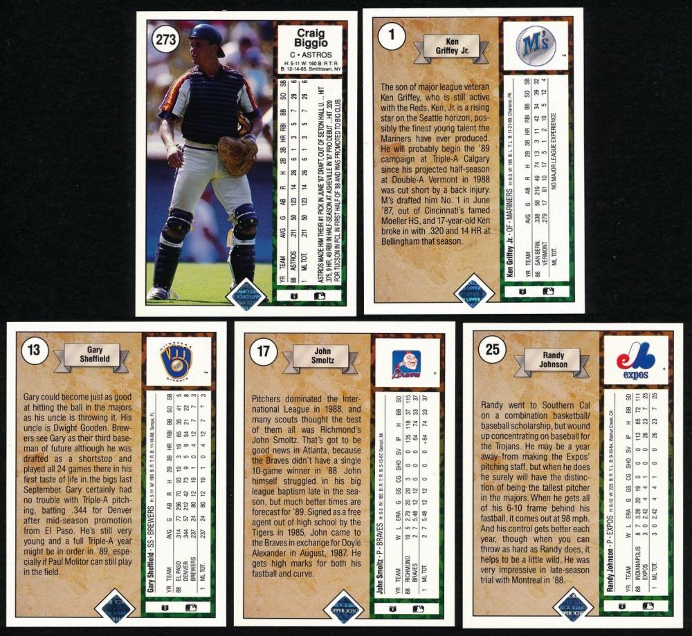 9f13204bed 1989 Upper Deck Complete Set of (800) Baseball Cards Including #25 Randy  Johnson
