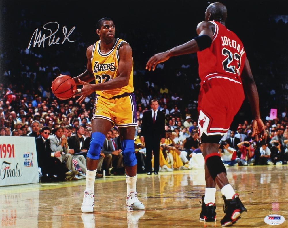 1b83993fb61 Magic Johnson Signed Lakers 11x14 Photo vs. Michael Jordan (PSA COA) at  PristineAuction