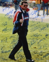 """1985 Bears Team Mike Ditka Finger 16x20 Photo Inscribed """"We're #1"""" Signed by (30) with Mike Ditka, Mike Singletary, Dan Hampton, Jim McMahon, Willie Gault & More (Schwartz COA) at PristineAuction.com"""