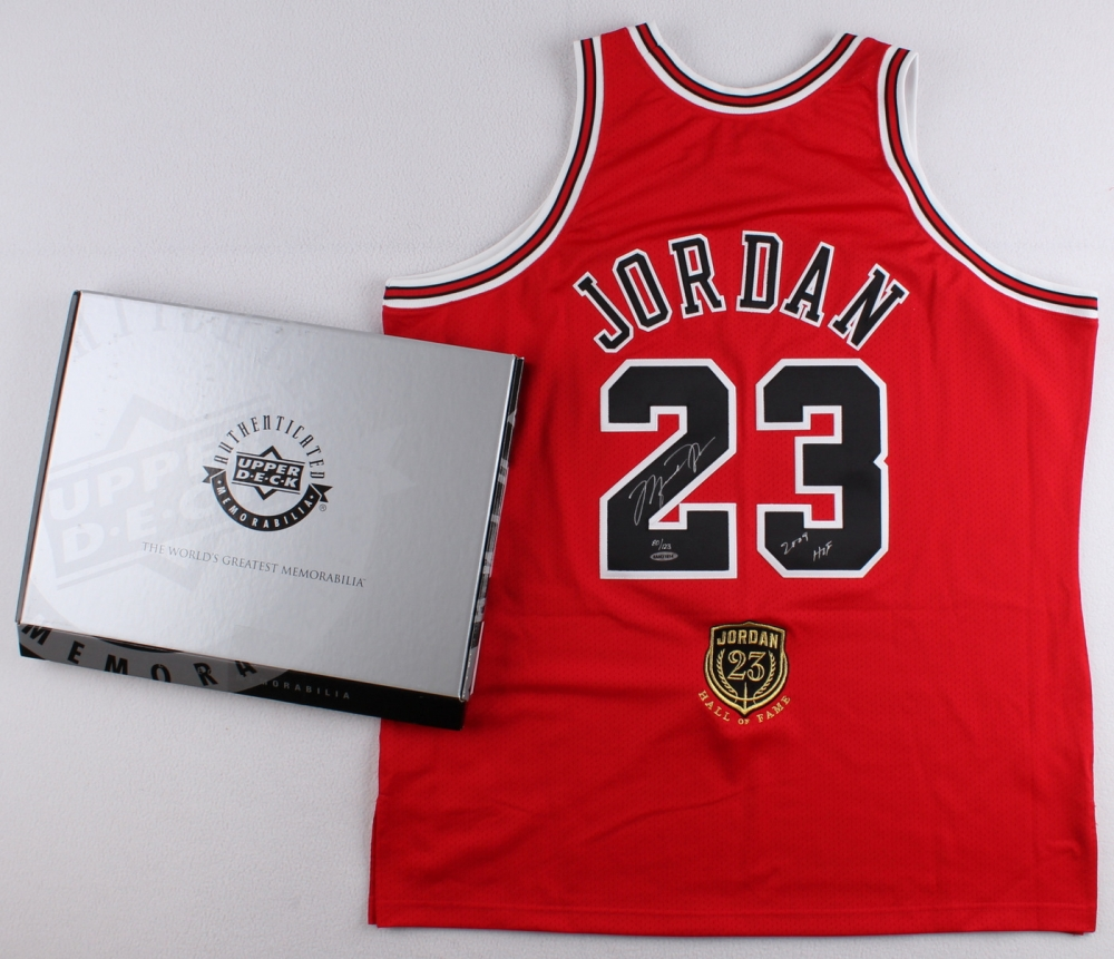 b8f867dc6645 ... Michael Jordan Signed Bulls Hall of Fame LE Authentic Jersey Inscribed  ...