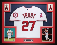 "Mike Trout Signed Angels 35"" x 43"" Custom Framed Jersey (MLB)"