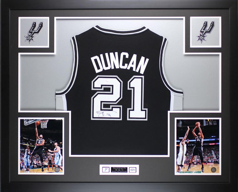 tim duncan signed spurs 35 x 43 custom framed jersey jsa loa