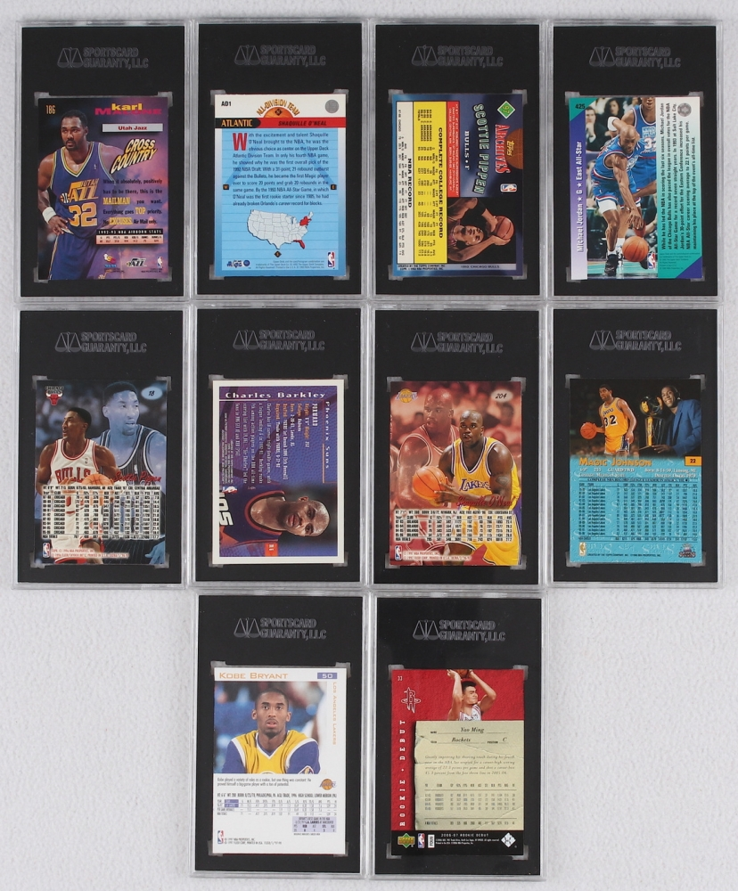 56ef1f3f613a9e Lot of (10) NBA Star SGC Graded Basketball Cards With Magic Johnson
