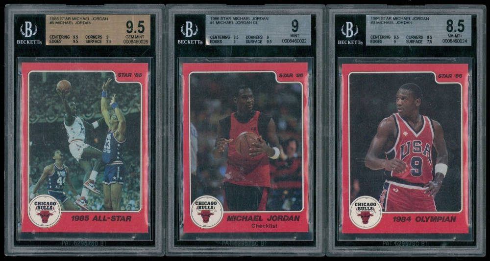 Lot Of 3 BGS Graded Michael Jordan Basketball Cards With 1986 Star