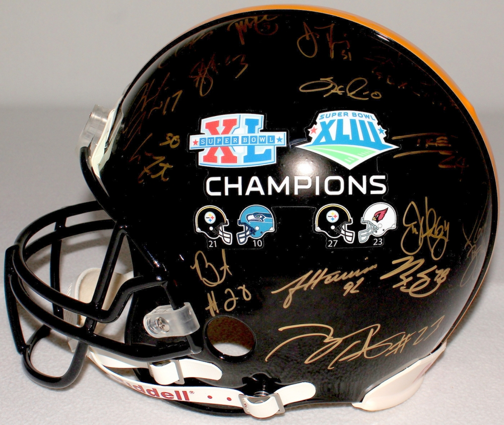 2390cbd4e6b Super Bowl 40   43 Champion Team-Signed Steelers Full-Size Authentic  Proline Helmet