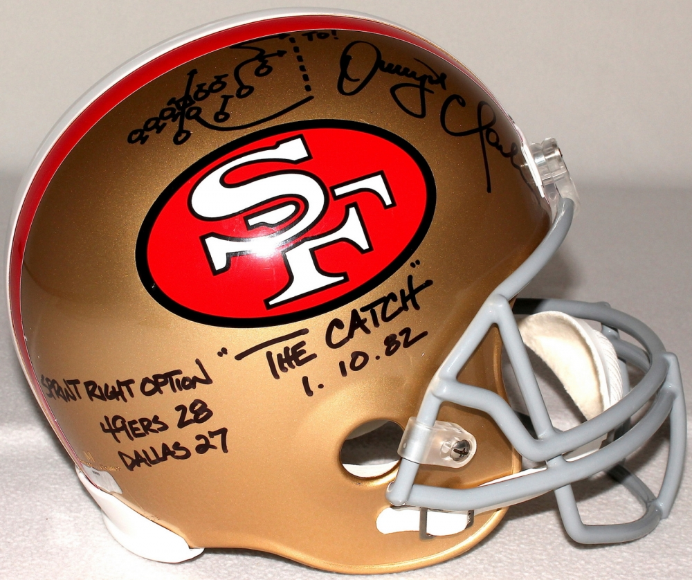 "Dwight Clark Signed 49ers ""The Catch"" Full-Size Helmet with Hand-Drawn"