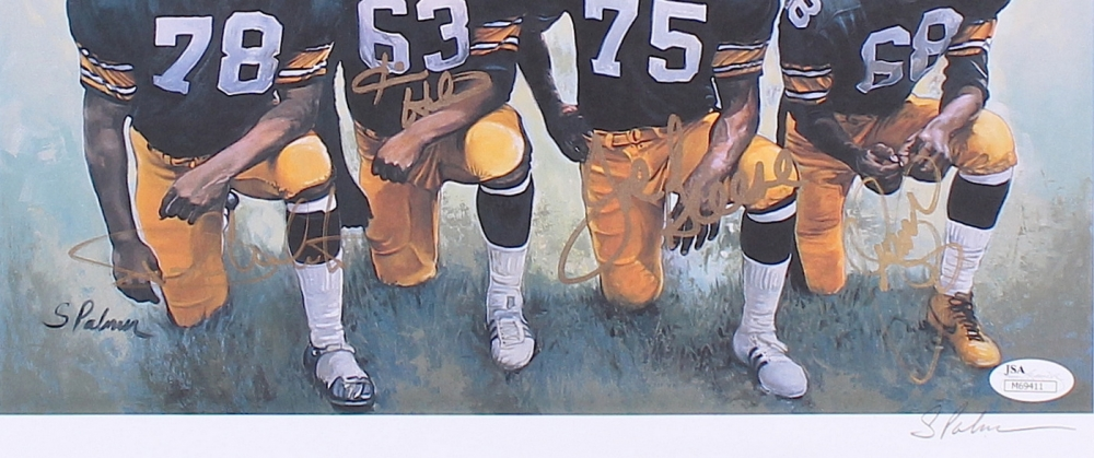 Steelers Steel Curtain Signed 12x15 Lithograph With 4 Signatures Including Dwight White