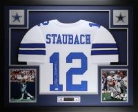 Roger Staubach Signed 35x43 Custom Framed Jersey (JSA COA) at PristineAuction.com